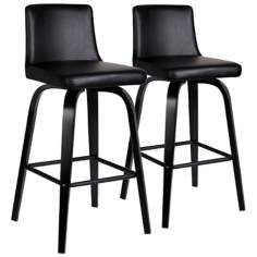 Set of 2 Black Upholstered Counter Stools