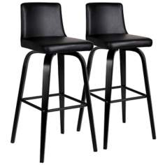 Set of 2 Black Upholstered Bar Stools
