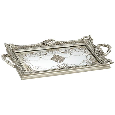 Margeaux Antique Nickel and Mirrored Tray