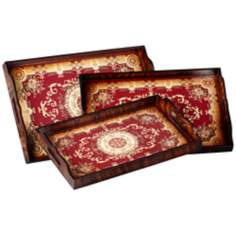 Carly Red and Cream Set of 3 Nesting Trays