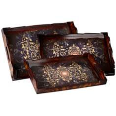 Mila Set of 3 Scroll and Leaf Nesting Trays