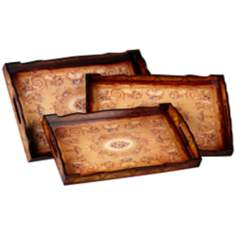Helena Red and Ivory Set of 3 Nesting Trays