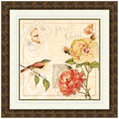 "Ivory Floral I 19 1/2"" Square Framed Wall Art Print"