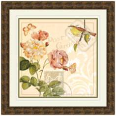 "Ivory Floral II 19 1/2"" Square Framed Wall Art Print"