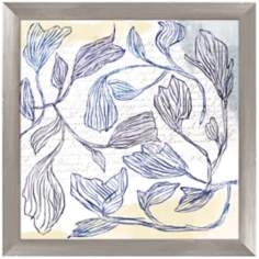 "Blue Drawn Flowers 17 1/4"" Square Framed Wall Art Print"
