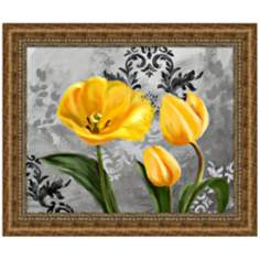 "Yellow Tulips I 36 3/4"" Wide Framed Floral Wall Art Print"