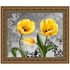 "Yellow Tulips II 36 3/4"" Wide Framed Floral Wall Art"