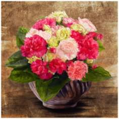 "Pink Bouquet 22"" Square Gallery Wrapped Canvas Wall Art"