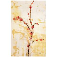 "Cherries N Cream 32"" High Abstract Floral Canvas Wall Art"
