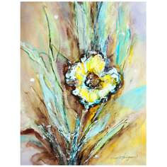 "Painted Daisy 26"" High Abstract Floral Canvas Wall Art"