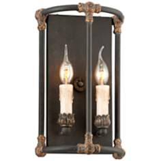 "Surrey Collection 13 3/4"" High Distressed Black Wall Sconce"