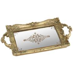 Analissa Antique Gold Mirrored Tray