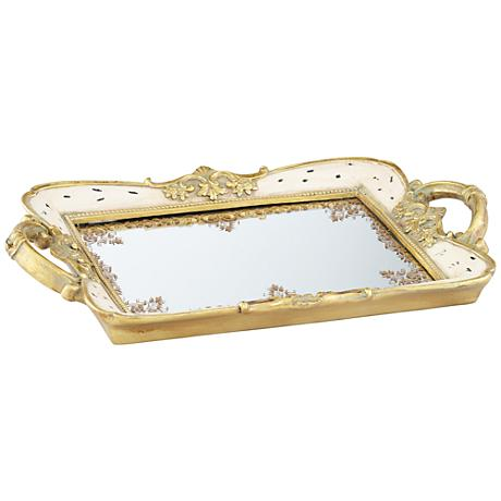 Gilda Soft Pink and Gold Mirrored Tray
