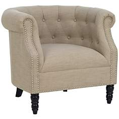 Chesterfield Barley Linen Tufted Armchair