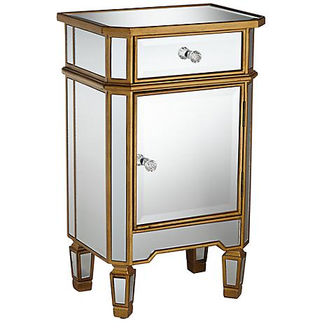 Ivette Antique Gold Trim Mirrored Cabinet