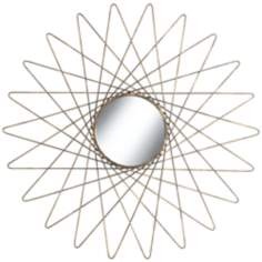 "Starburst Bronze And Gray 26"" Round Wire Mirrored Wall Art"