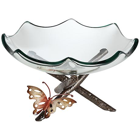 Butterfly on Iron Branches with Clear Glass Bowl