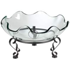 Iron Scroll Stand with Ruffle Glass Bowl