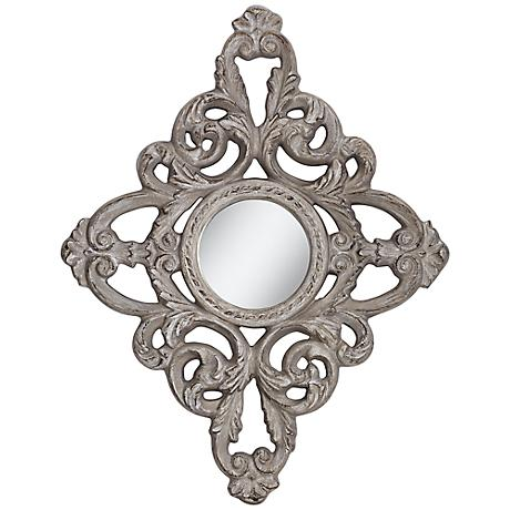 "Natalia 39 1/2"" High Gray Linen Openwork Wall Mirror"