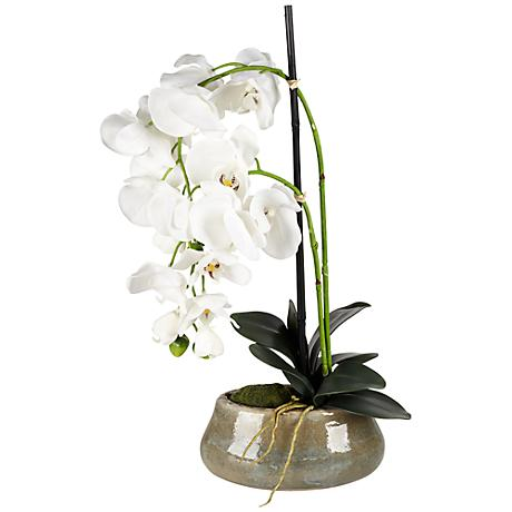 "White 21"" High Faux Orchids in Beige Ceramic Pot"