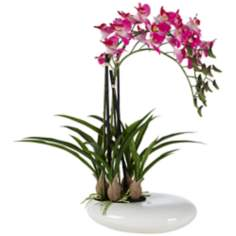 Three Stem Faux Purple Orchid in White Pot