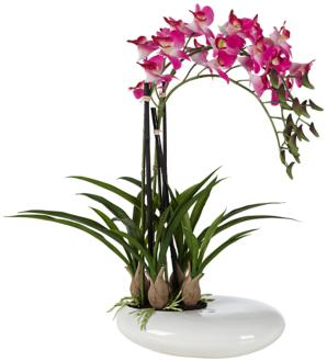 "Three Stem 18 1/2"" High Faux Purple Orchid in White Pot (2W757) 2W757"