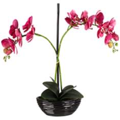 Single Stem Purple Faux Orchids in Black Pot