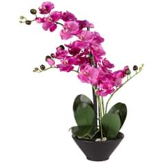 Multi Stem Purple Faux Orchids in Black Pot