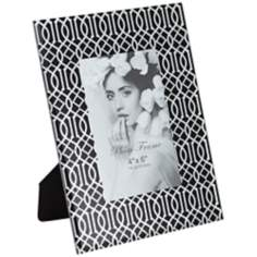 "Giza Black Glass and Silver 4""x6"" Photo Frame"