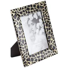 "Gold and Black Leopard Print Glass 5""x7"" Photo Frame"