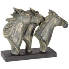 Bronze Three Horse Heads Statue
