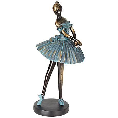 "Ballerina in Verde Bronze 12"" High Decorative Sculpture"