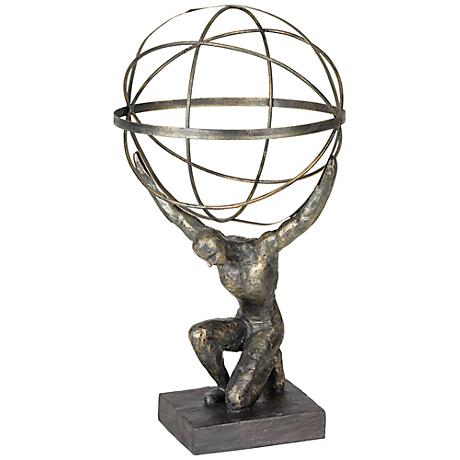 "Atlas with Globe 17 1/4"" High Bronze Sculpture"