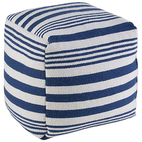 Skipper Nautical Stripe Navy and White Pouf