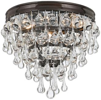 "Crystorama Calypso Bronze 10"" Wide Crystal Ceiling Light (2X063) 2X063"