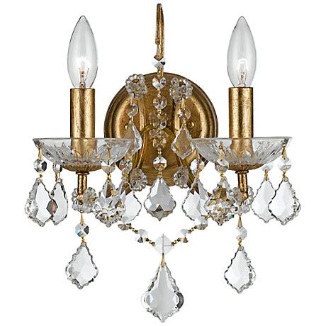 "Crystorama Filmore Gold 12 1/2"" High Crystal Wall Sconce"