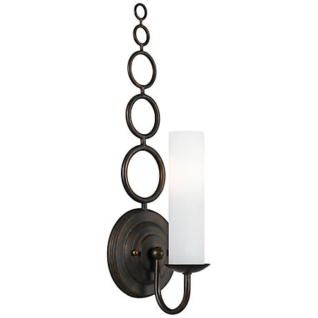 "Crystorama Cameron Glass 18"" High Bronze Wall Sconce"