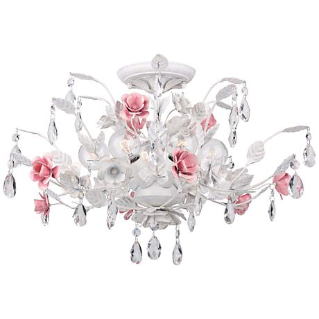 "Crystorama Lola 20"" Wide Antique White Ceiling Light"