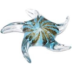 Black and Turquoise Handblown Glass Starfish