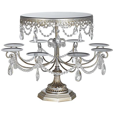 "Sabine 17 1/4"" High Silver Cake and Cupcake Stand"