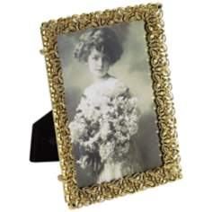 Flena Antique Gold 5x7 Austrian Stone Picture Frame