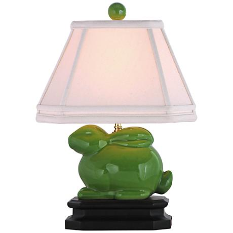 Apple Green Porcelain Bunny Table Lamp