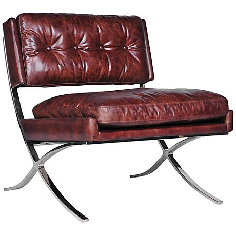 Heathrow Cigar Top-Grain Leather Lounge Chair