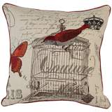 "Red Bird Couture 18"" Square Down Throw Pillow"