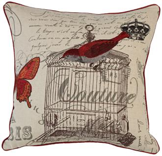 "red bird couture 18"" square down throw pillow (2y476)"