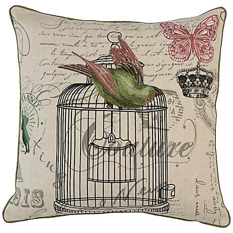 "Green Bird Couture 18"" Square Down Throw Pillow"