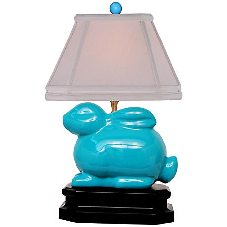 Turquoise Porcelain Bunny Table Lamp