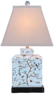 Floral Porcelain Rectangular Jar Table Lamp (2Y531) 2Y531
