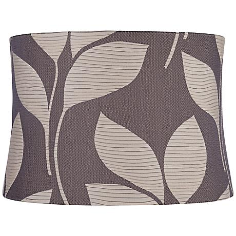 Gray With Sand Leaves Drum Lamp Shade 15x16x11 (Spider)