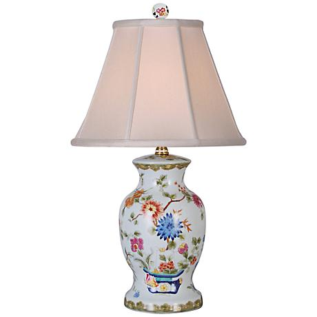 Ice Blue Floral Porcelain Vase Table Lamp